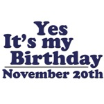 November 20th Birthday T-Shirts & Gifts