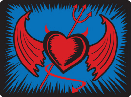 Devil Heart with Horns and Wings