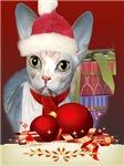 Sphynx Christmas Santa Cards