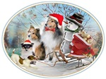 Sheltie Xmas With Jack Russell