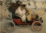 Vintage Painting of Car and Dogs