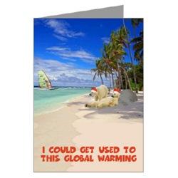 Beach Christmas Card with funny Polar Bears design