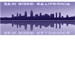 San Diego California Cityscape Reflections Graphic