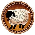 Primitive Folk Art Sheep with Star