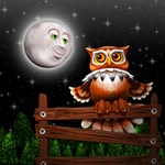 Surreal Owl and Moon