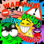 Warning Frequent Mood Swings Cartoon Faces