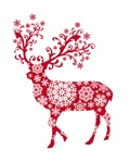 Red Christmas deer with snowflake pattern