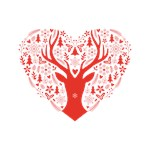 Christmas deer red heart