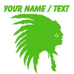 Custom Green Indian Headdress Outline
