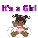 IT'S A GIRL. WITH AFRO AMERICAN  BABY GIRL