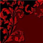 Elegant Red and Black Leafy Flourish
