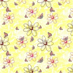 Yellow and Pink Wispy Flowers and Butterflies