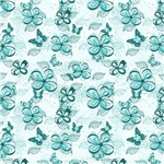 Turquoise Flowers and Butterflies