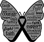 Melanoma Butterfly Collage of Words Shirts