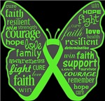 Lymphoma Butterfly Collage of Words Shirts
