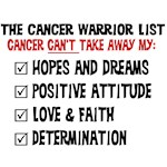 The Cancer Warrior List Shirts and Gifts