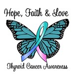 Thyroid Cancer Hope Butterfly T-Shirts & Gifts