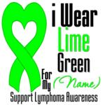 I Wear Lime Green Heart Ribbon Lymphoma T-Shirts
