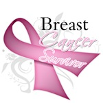 Breast Cancer Survivor Scroll Ribbon Shirts