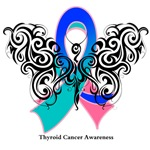 Thyroid Cancer Tribal Butterfly Shirts