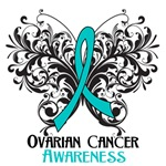 Butterfly Floral Ovarian Cancer Shirts and Gifts