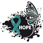 Hope Grunge Butterfly Ovarian Cancer Shirts