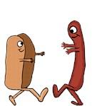Hot Dog Bun and wiener couple