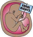 Ethnic Unborn Baby in Womb Equal Rights Sign
