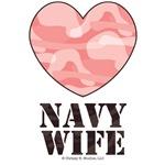 Navy Wife Pink Camo Heart