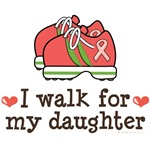I Walk For My Daughter Pink Ribbon T shirt Supp