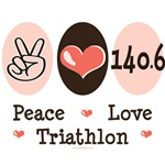 Peace Love Triathlon 140.6 Tees Gifts