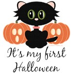 Black Cat First Halloween Baby T-shirt and Gifts