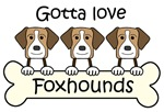 Three American Foxhounds (Tri-Color)