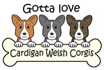 Three Cardigan Welsh Corgis (Breed Color Variety)