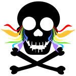 Rainbow Tears Black Skull