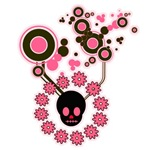 Pink and Black Skull Flowers Abstract