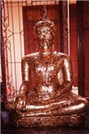 Golden Budha Meditating In Shrine