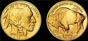 Both Sides of 2006 Gold Indian/Buffalo on Black