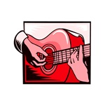 acoustic guitar hand playing red graphic