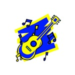 yellow blue acoustic guitar music design