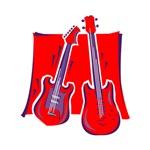 red guitar n bass musical
