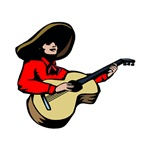 mexican guitar player red shirt