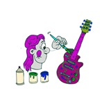 man painting guitar purple pink