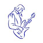 guitar player outline blue