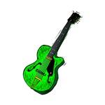 green semi hollow guitar