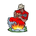 blues guitarist camping red shirt