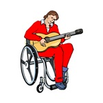 red shirt wheelchair guitarist