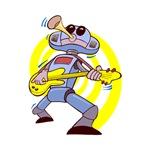 robot guitar player yellow