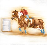 Barrel Racing, sorrel Paitn Horse