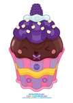 Kawaii Blackberry Cupcake